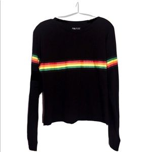 NWT On Fire L/S Tee in Black with Rainbow Stripes